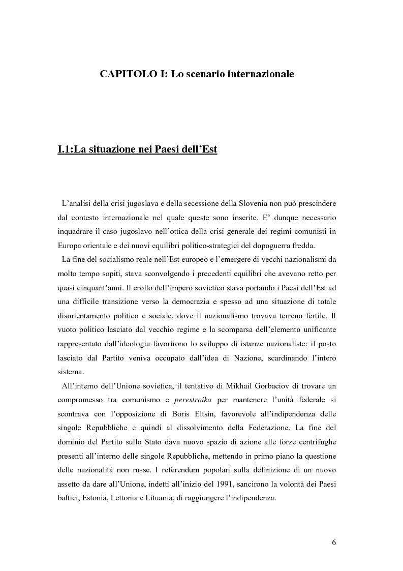 Anteprima della tesi: La secessione slovena, l'Italia e la Regione Friuli Venezia Giulia durante la crisi, Pagina 6