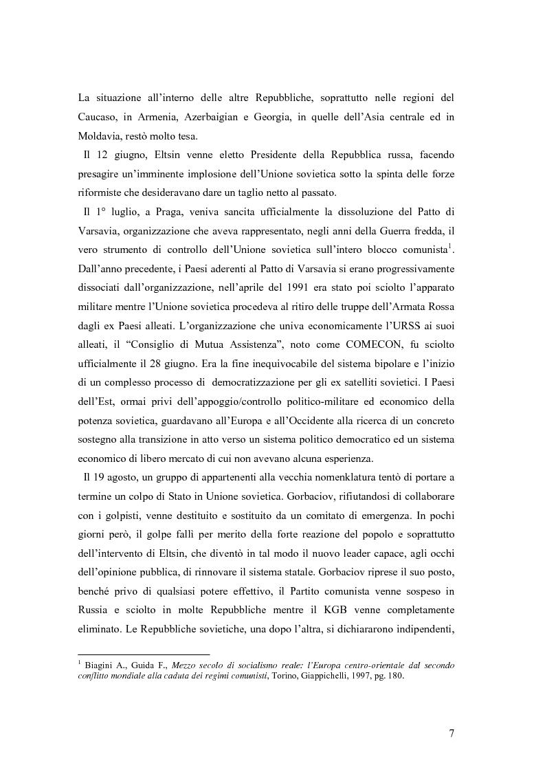 Anteprima della tesi: La secessione slovena, l'Italia e la Regione Friuli Venezia Giulia durante la crisi, Pagina 7