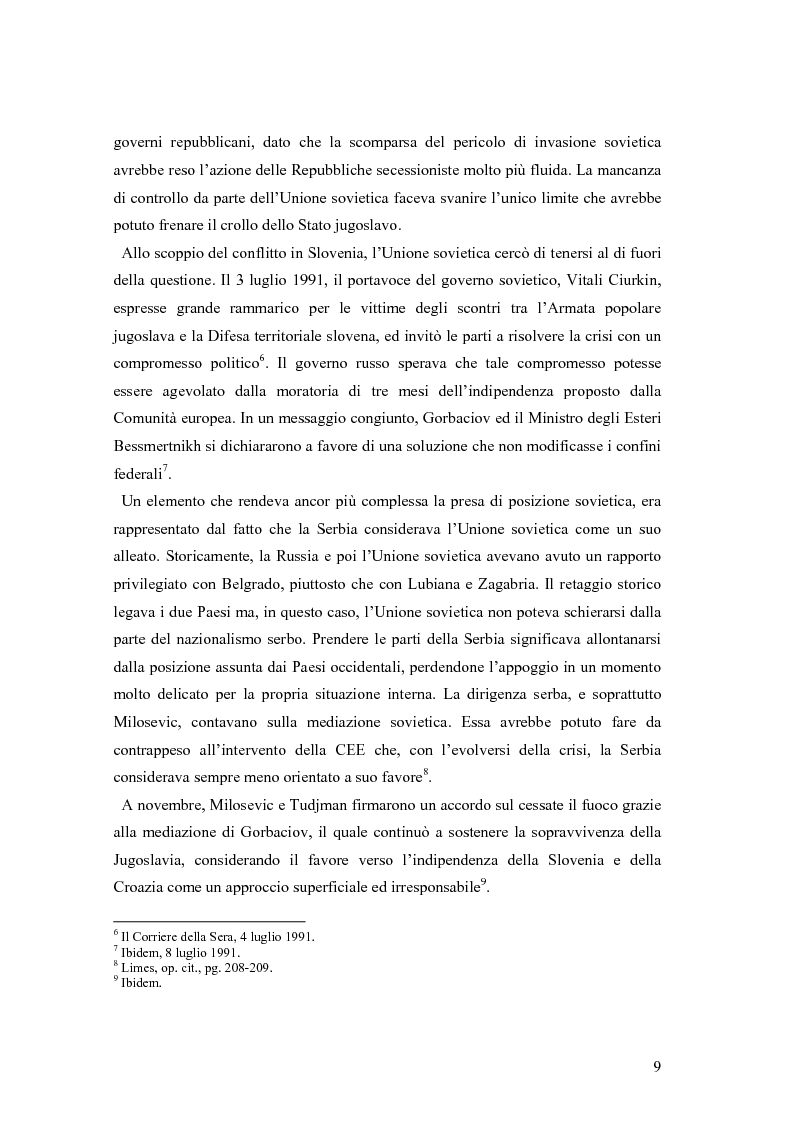 Anteprima della tesi: La secessione slovena, l'Italia e la Regione Friuli Venezia Giulia durante la crisi, Pagina 9