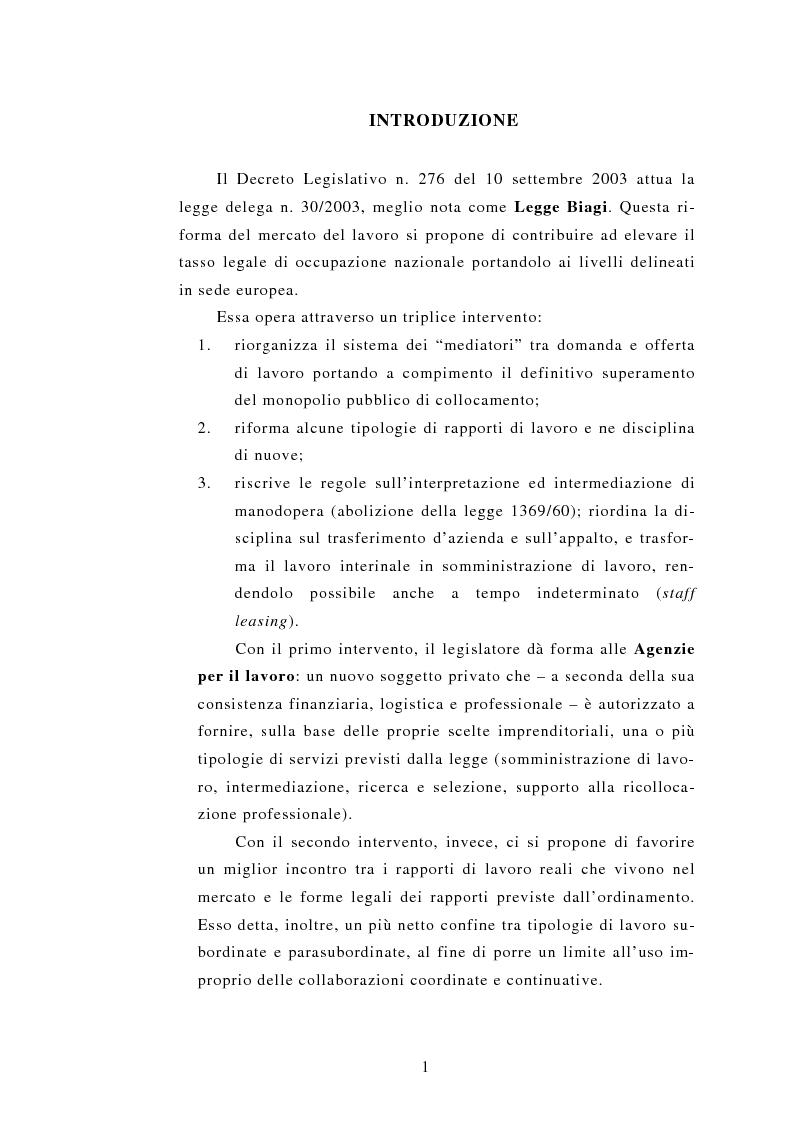 Anteprima della tesi: Le Agenzie per il lavoro nel Decreto Legislativo 276 del 2003, Pagina 1