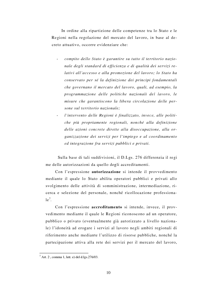 Anteprima della tesi: Le Agenzie per il lavoro nel Decreto Legislativo 276 del 2003, Pagina 10