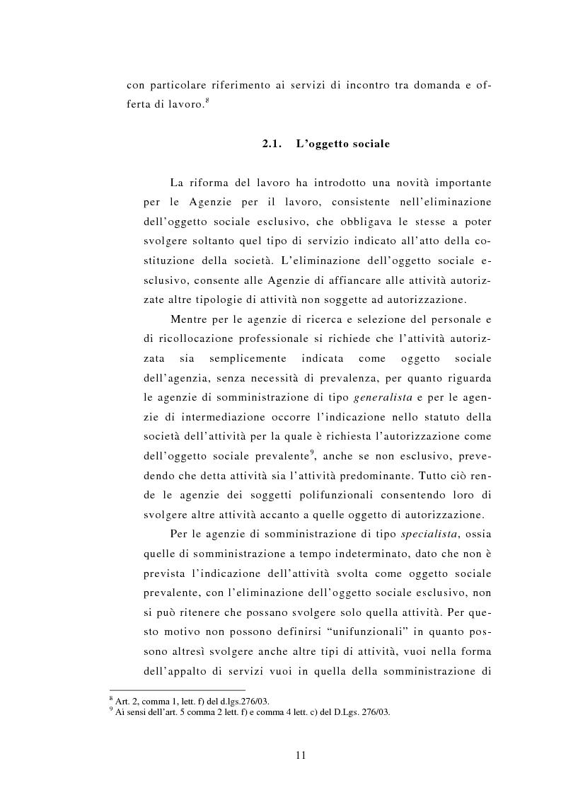 Anteprima della tesi: Le Agenzie per il lavoro nel Decreto Legislativo 276 del 2003, Pagina 11
