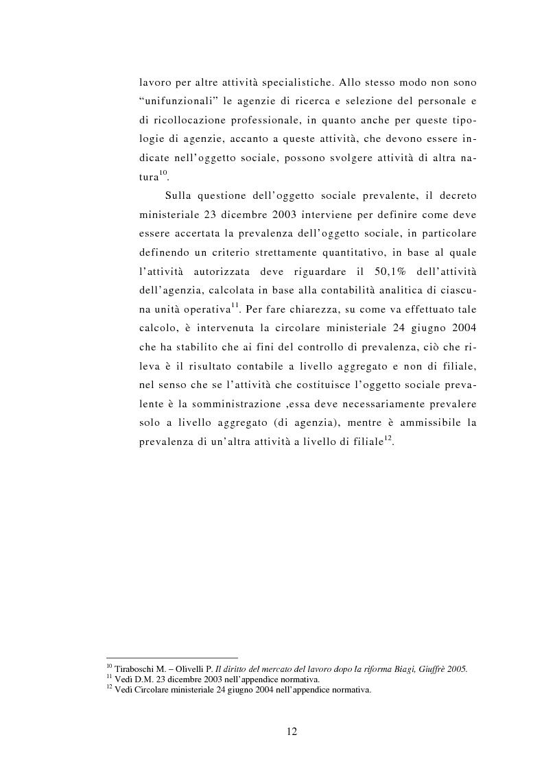 Anteprima della tesi: Le Agenzie per il lavoro nel Decreto Legislativo 276 del 2003, Pagina 12