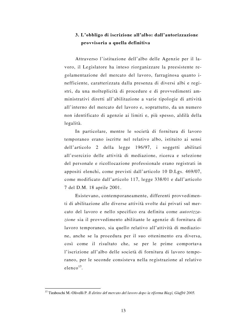 Anteprima della tesi: Le Agenzie per il lavoro nel Decreto Legislativo 276 del 2003, Pagina 13
