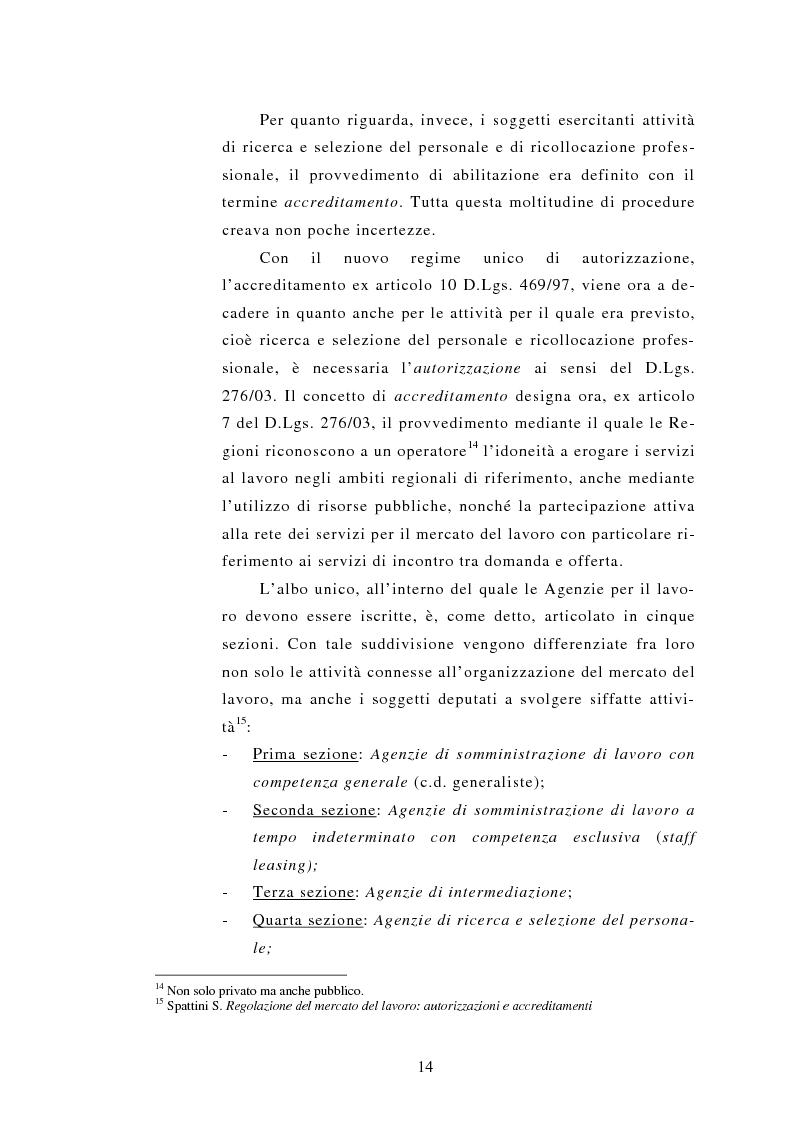Anteprima della tesi: Le Agenzie per il lavoro nel Decreto Legislativo 276 del 2003, Pagina 14