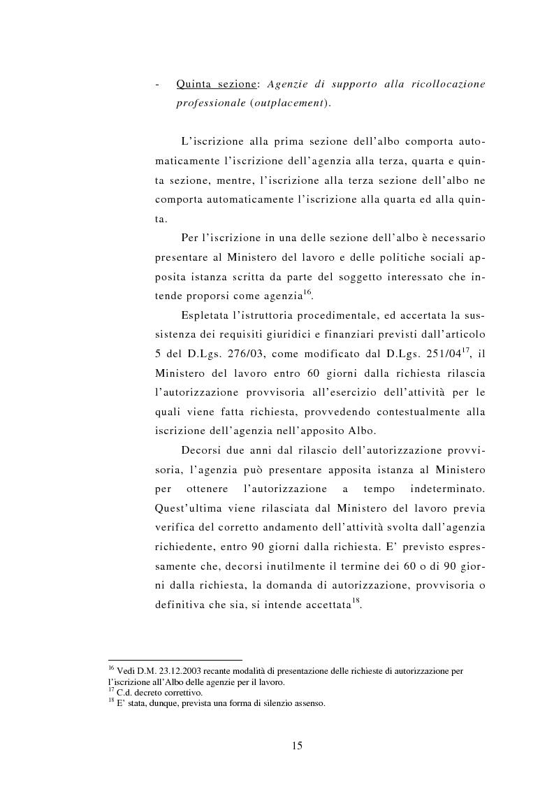 Anteprima della tesi: Le Agenzie per il lavoro nel Decreto Legislativo 276 del 2003, Pagina 15