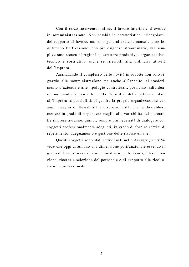 Anteprima della tesi: Le Agenzie per il lavoro nel Decreto Legislativo 276 del 2003, Pagina 2