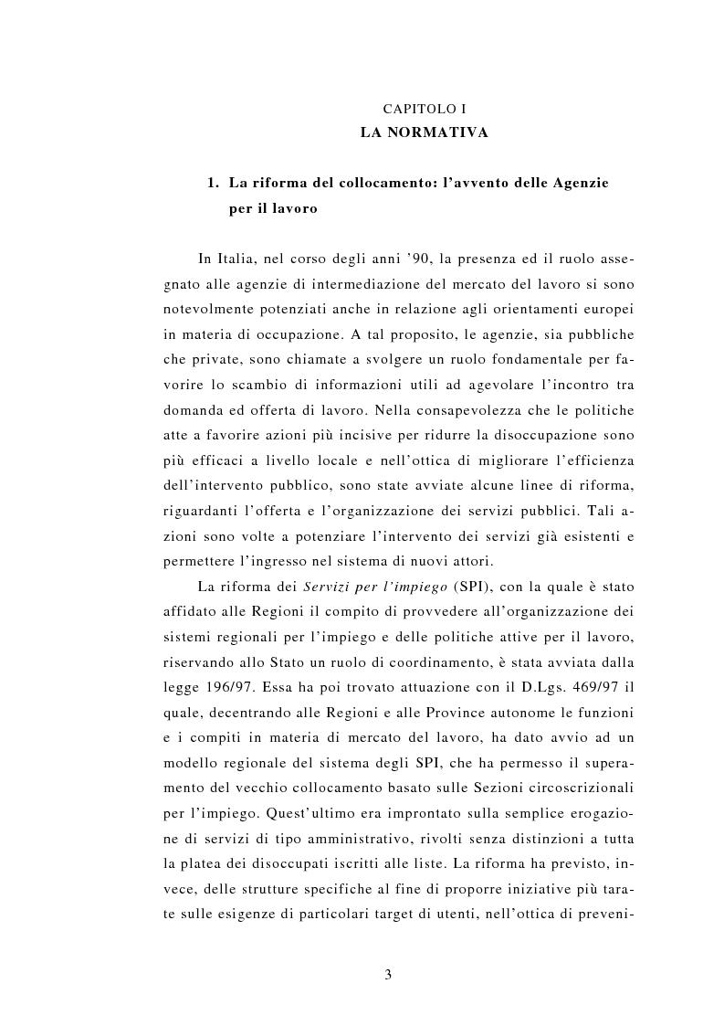 Anteprima della tesi: Le Agenzie per il lavoro nel Decreto Legislativo 276 del 2003, Pagina 3