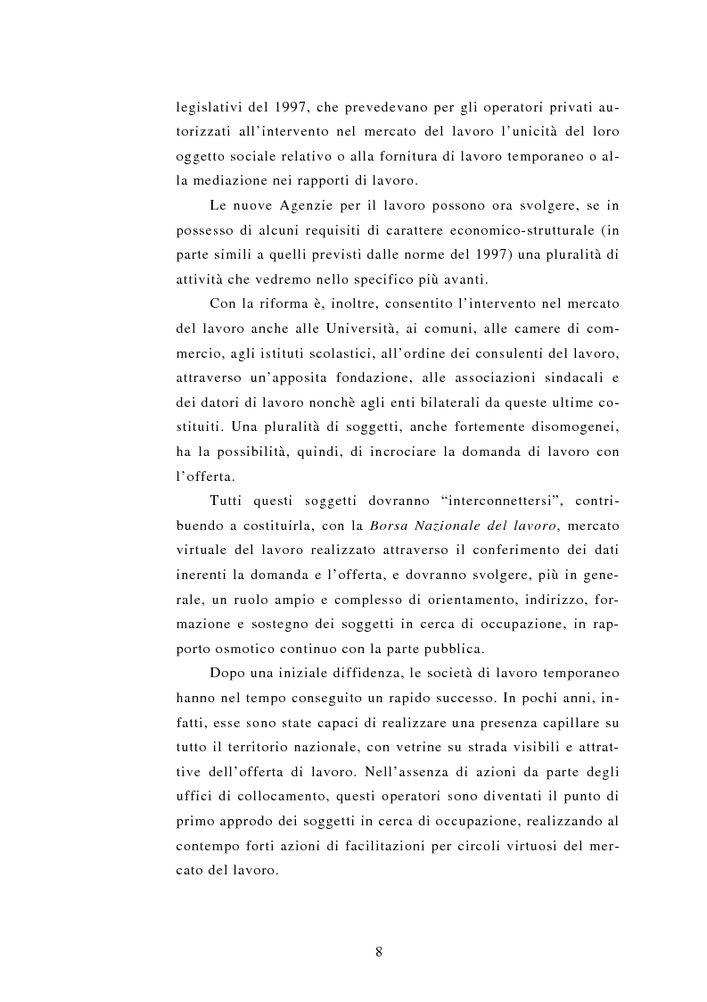 Anteprima della tesi: Le Agenzie per il lavoro nel Decreto Legislativo 276 del 2003, Pagina 8