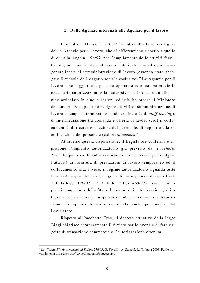 Anteprima della tesi: Le Agenzie per il lavoro nel Decreto Legislativo 276 del 2003, Pagina 9