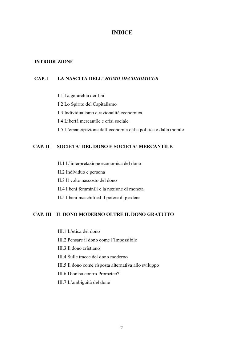 Indice della tesi: A partire da Marcel Mauss: il paradosso del dono fra reciprocità e dispendio., Pagina 1