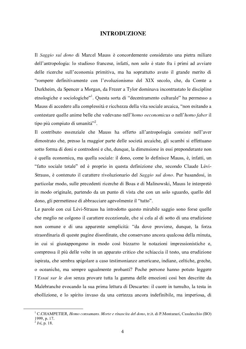 Anteprima della tesi: A partire da Marcel Mauss: il paradosso del dono fra reciprocità e dispendio., Pagina 1