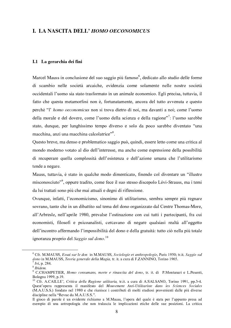 Anteprima della tesi: A partire da Marcel Mauss: il paradosso del dono fra reciprocità e dispendio., Pagina 5