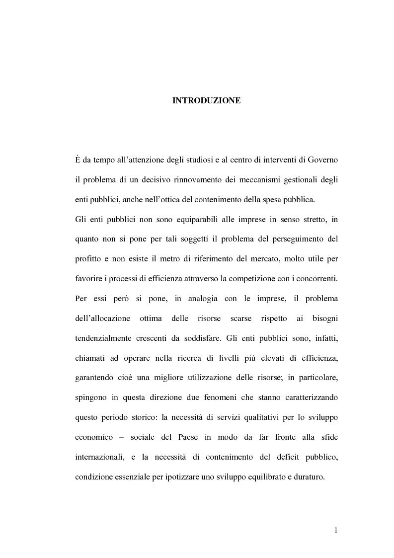 Anteprima della tesi: Il controllo di gestione e la misura della performance dell'azienda pubblica: l'analisi dell'efficienza con il sistema SICOGE, Pagina 1