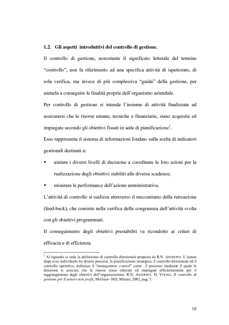 Anteprima della tesi: Il controllo di gestione e la misura della performance dell'azienda pubblica: l'analisi dell'efficienza con il sistema SICOGE, Pagina 10
