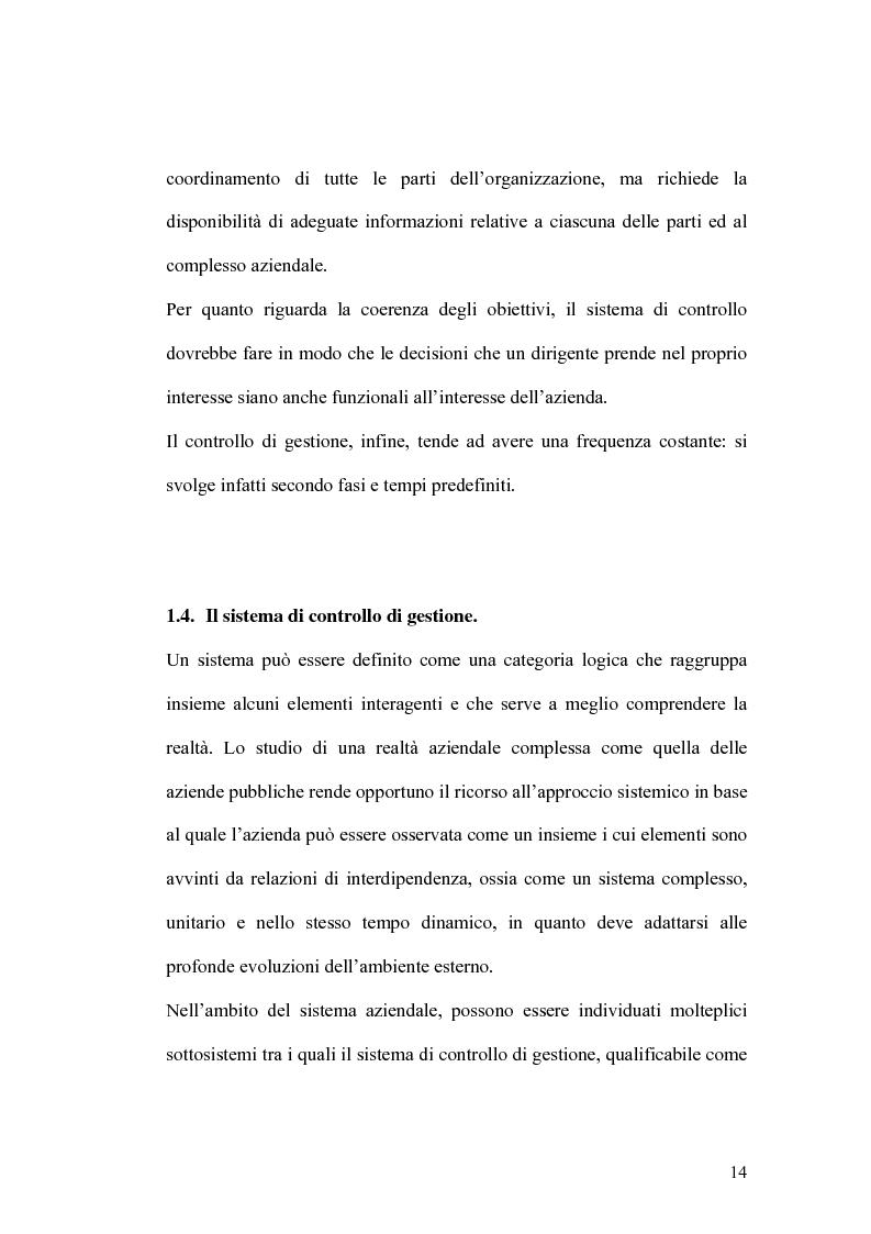 Anteprima della tesi: Il controllo di gestione e la misura della performance dell'azienda pubblica: l'analisi dell'efficienza con il sistema SICOGE, Pagina 14
