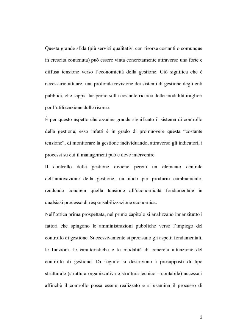 Anteprima della tesi: Il controllo di gestione e la misura della performance dell'azienda pubblica: l'analisi dell'efficienza con il sistema SICOGE, Pagina 2
