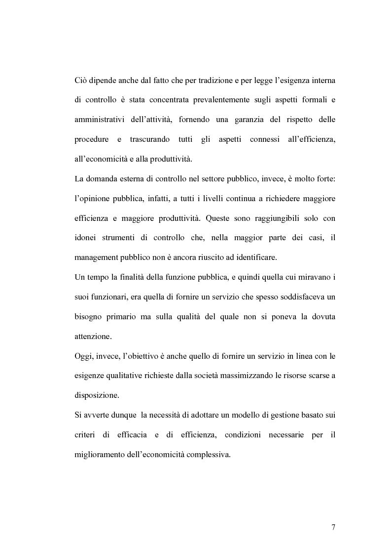 Anteprima della tesi: Il controllo di gestione e la misura della performance dell'azienda pubblica: l'analisi dell'efficienza con il sistema SICOGE, Pagina 7