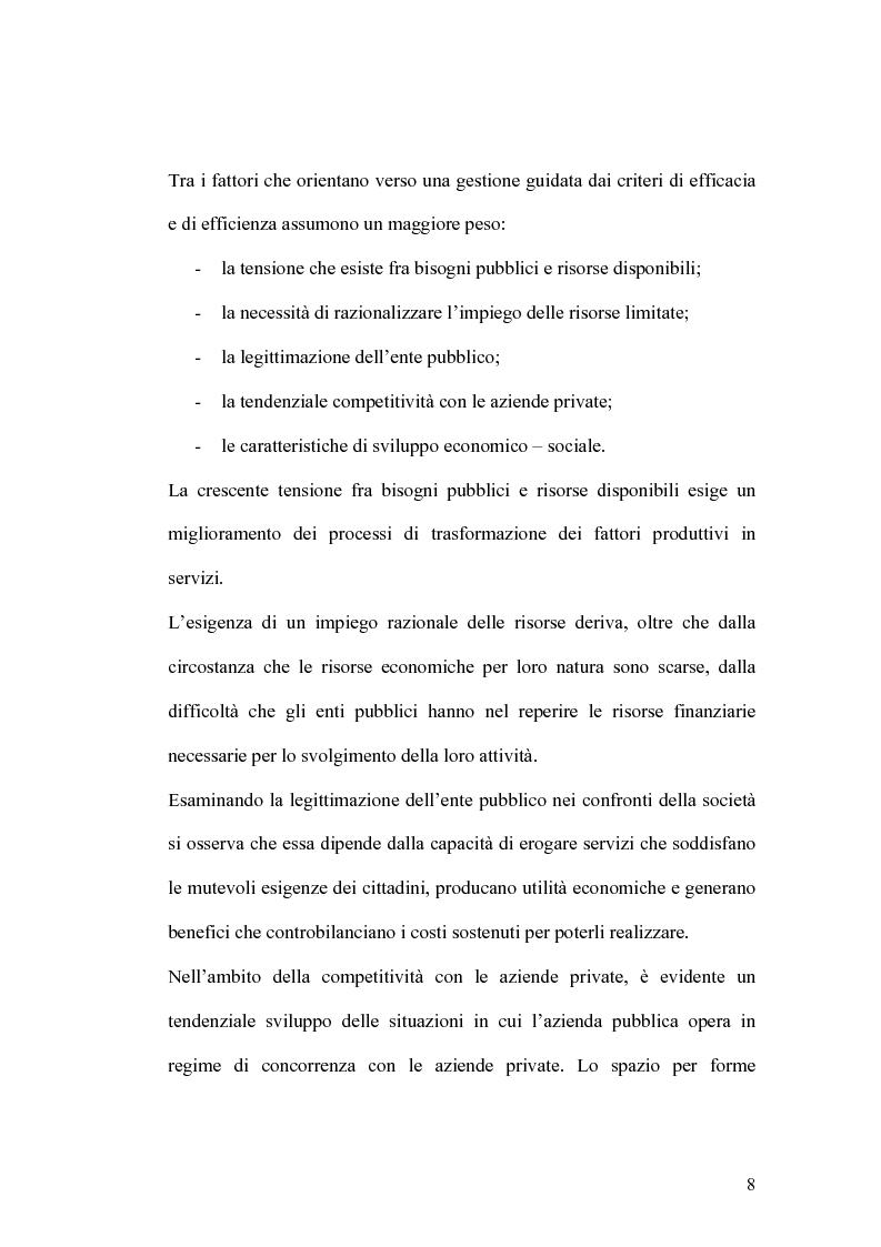 Anteprima della tesi: Il controllo di gestione e la misura della performance dell'azienda pubblica: l'analisi dell'efficienza con il sistema SICOGE, Pagina 8