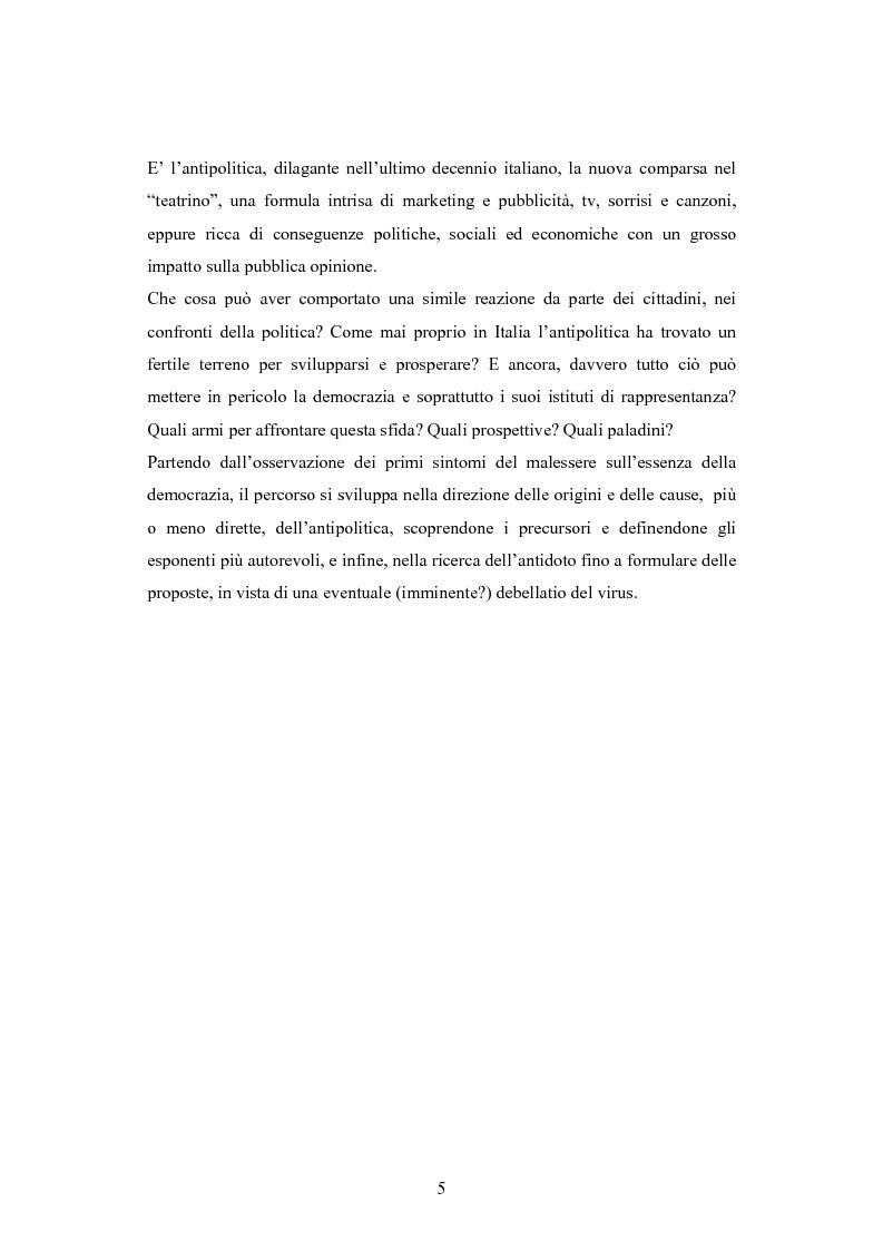 Anteprima della tesi: Antipolitica: una minaccia per la democrazia in Italia, Pagina 2