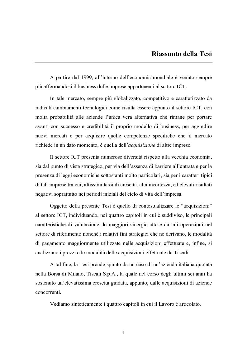 Anteprima della tesi: Le concentrazioni nel settore ICT: una analisi dei prezzi pagati da Tiscali, Pagina 1