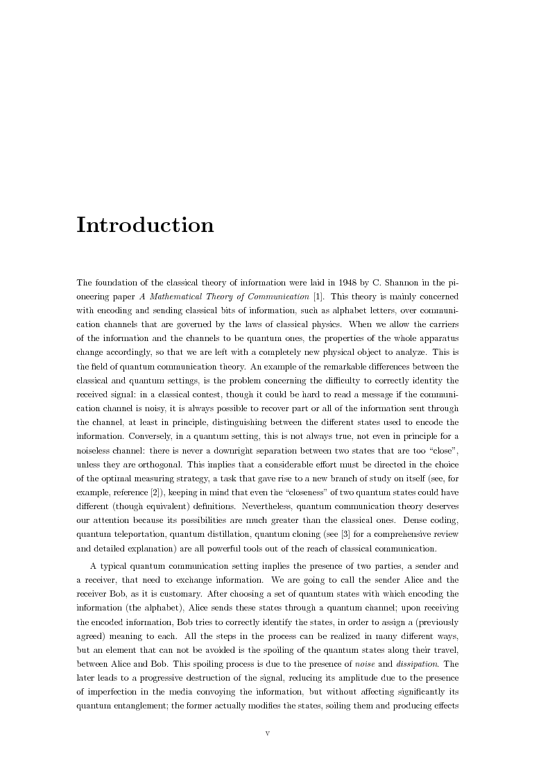 Anteprima della tesi: Effects of noise in continuous variables quantum communication and measurement, Pagina 1