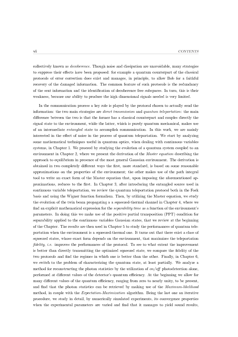 Anteprima della tesi: Effects of noise in continuous variables quantum communication and measurement, Pagina 2