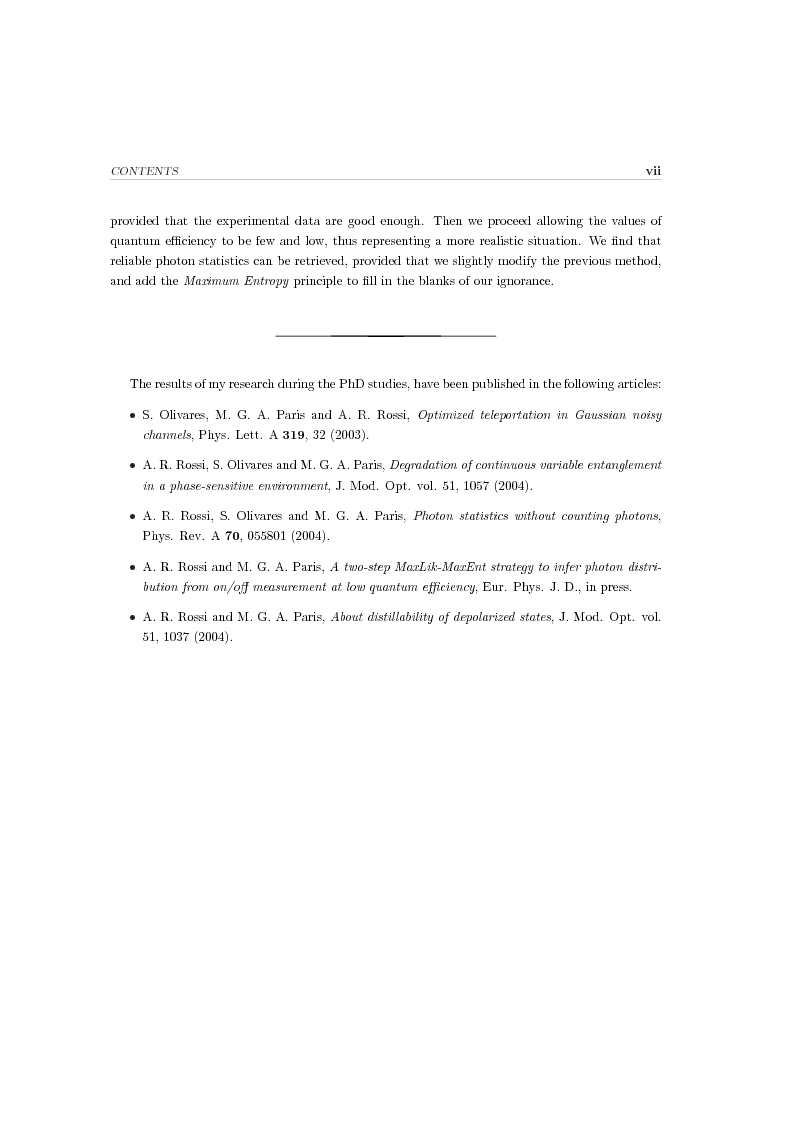 Anteprima della tesi: Effects of noise in continuous variables quantum communication and measurement, Pagina 3