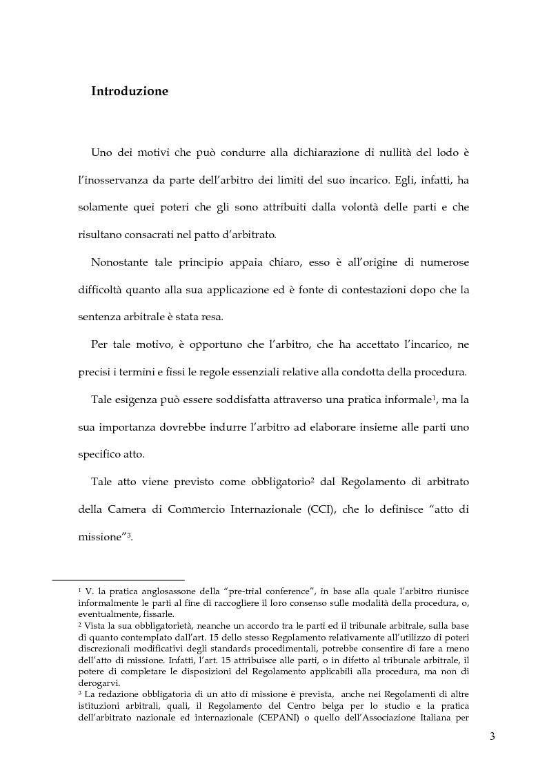 Anteprima della tesi: L'atto di missione nel regolamento arbitrale della Camera di Commercio Internazionale, Pagina 1