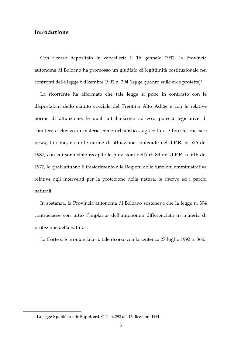 Anteprima della tesi: Parchi e riserve naturali tra Stato e Regioni, Pagina 1