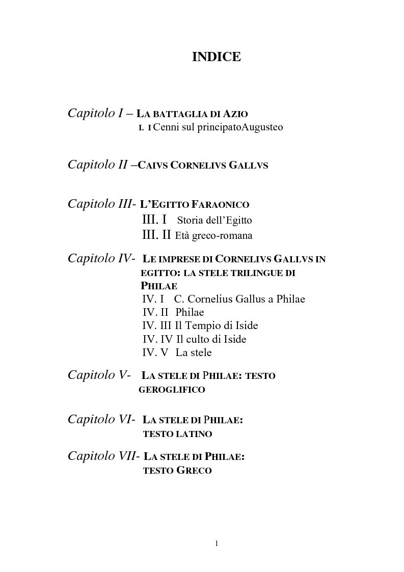 Indice della tesi: La vicenda politica di Caivs Cornelivs Gallvs, Pagina 1