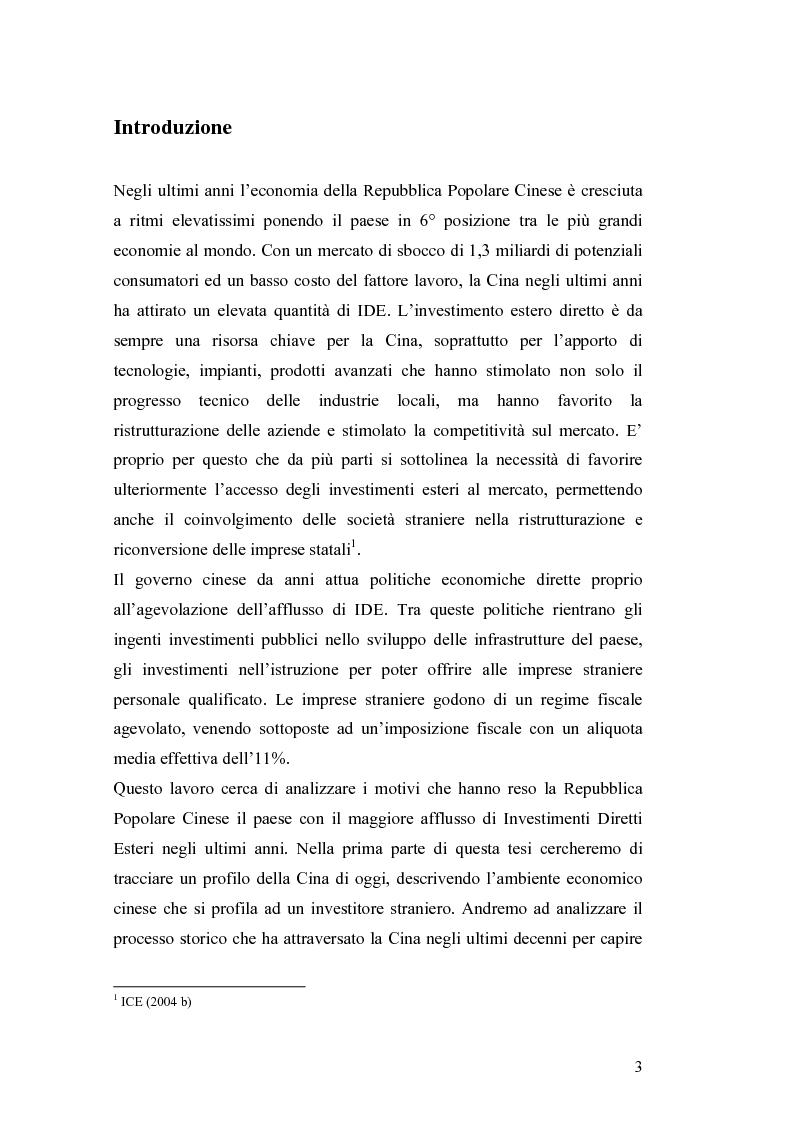 Anteprima della tesi: Gli Investimenti Diretti Esteri Nella Cina Del Nuovo Millennio: Aspetti Tributari, Pagina 1