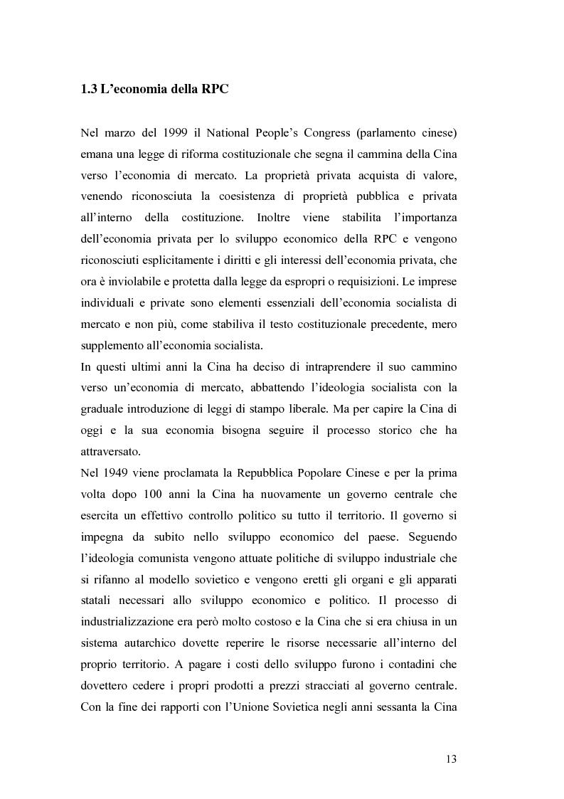 Anteprima della tesi: Gli Investimenti Diretti Esteri Nella Cina Del Nuovo Millennio: Aspetti Tributari, Pagina 11