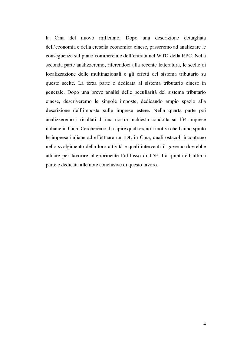 Anteprima della tesi: Gli Investimenti Diretti Esteri Nella Cina Del Nuovo Millennio: Aspetti Tributari, Pagina 2