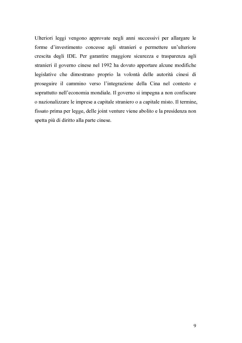 Anteprima della tesi: Gli Investimenti Diretti Esteri Nella Cina Del Nuovo Millennio: Aspetti Tributari, Pagina 7