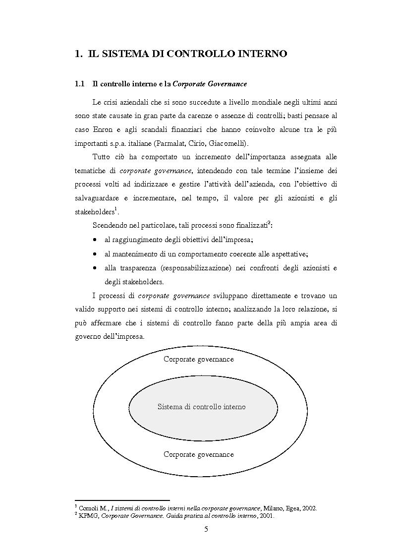 Anteprima della tesi: Il sistema dei controlli interni nelle aziende complesse, Pagina 4
