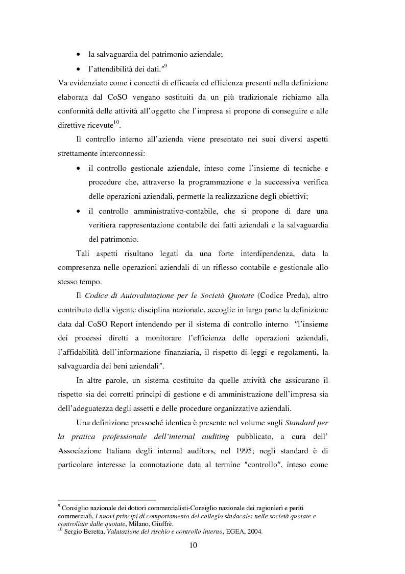 Anteprima della tesi: Il sistema dei controlli interni nelle aziende complesse, Pagina 9