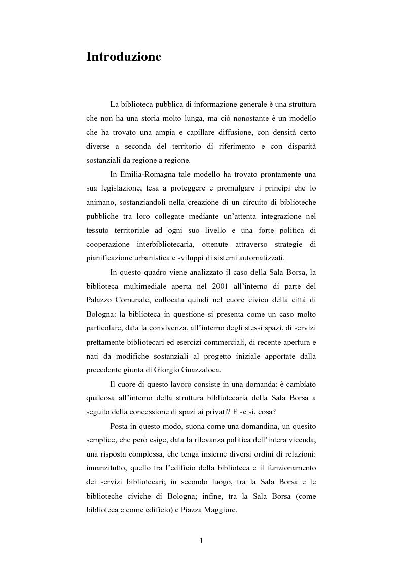 Anteprima della tesi: La Sala Borsa di Bologna: tra funzione urbanistica e ruolo pubblico, Pagina 1