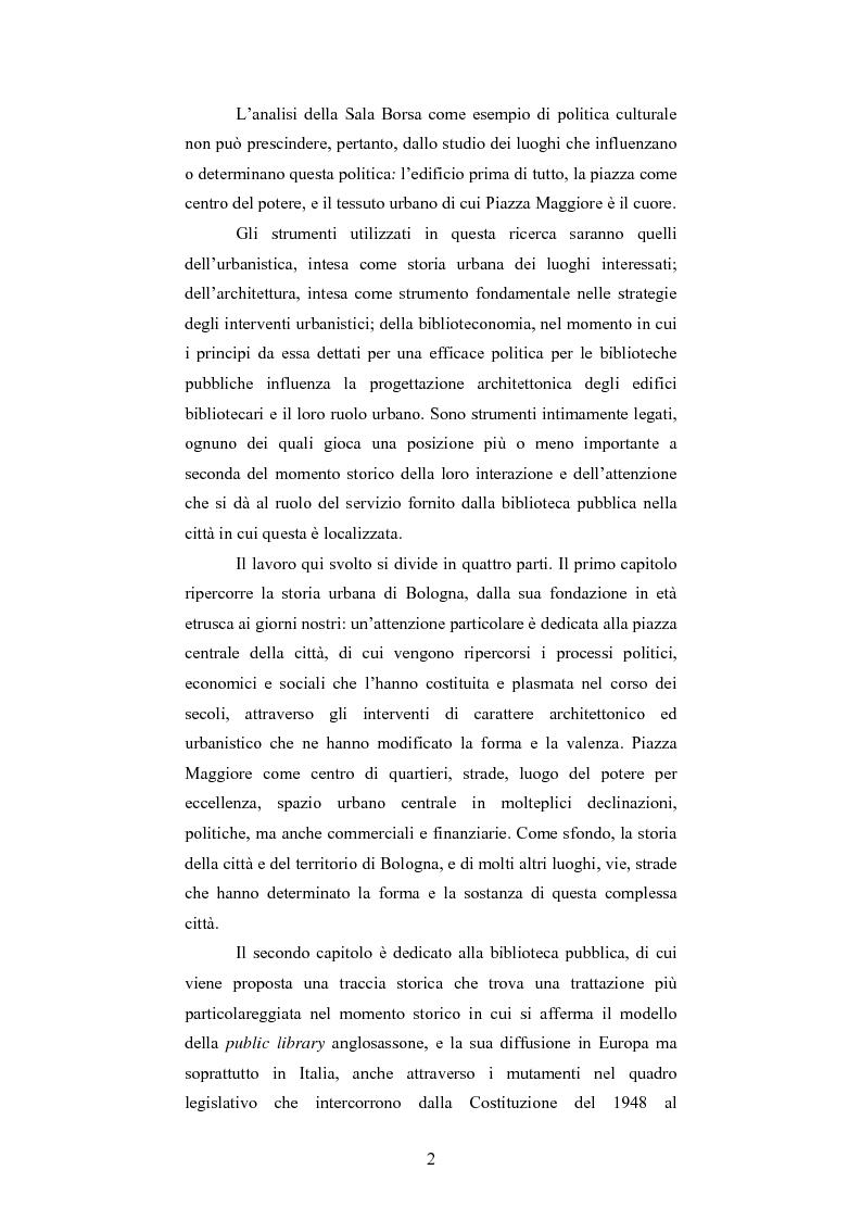 Anteprima della tesi: La Sala Borsa di Bologna: tra funzione urbanistica e ruolo pubblico, Pagina 2