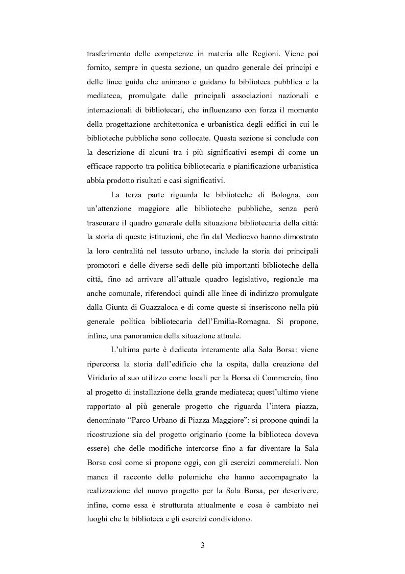 Anteprima della tesi: La Sala Borsa di Bologna: tra funzione urbanistica e ruolo pubblico, Pagina 3