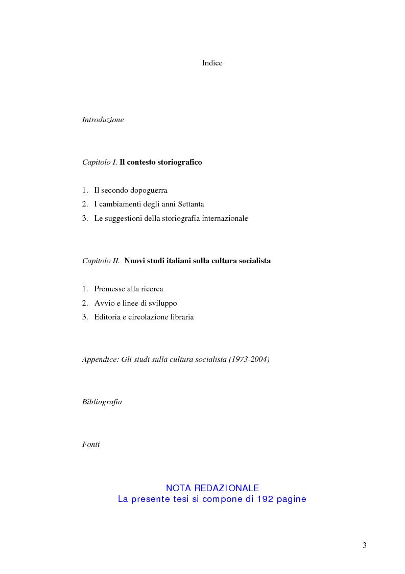 Indice della tesi: Socialismo e cultura in Italia nel periodo della Seconda Internazionale, Pagina 1