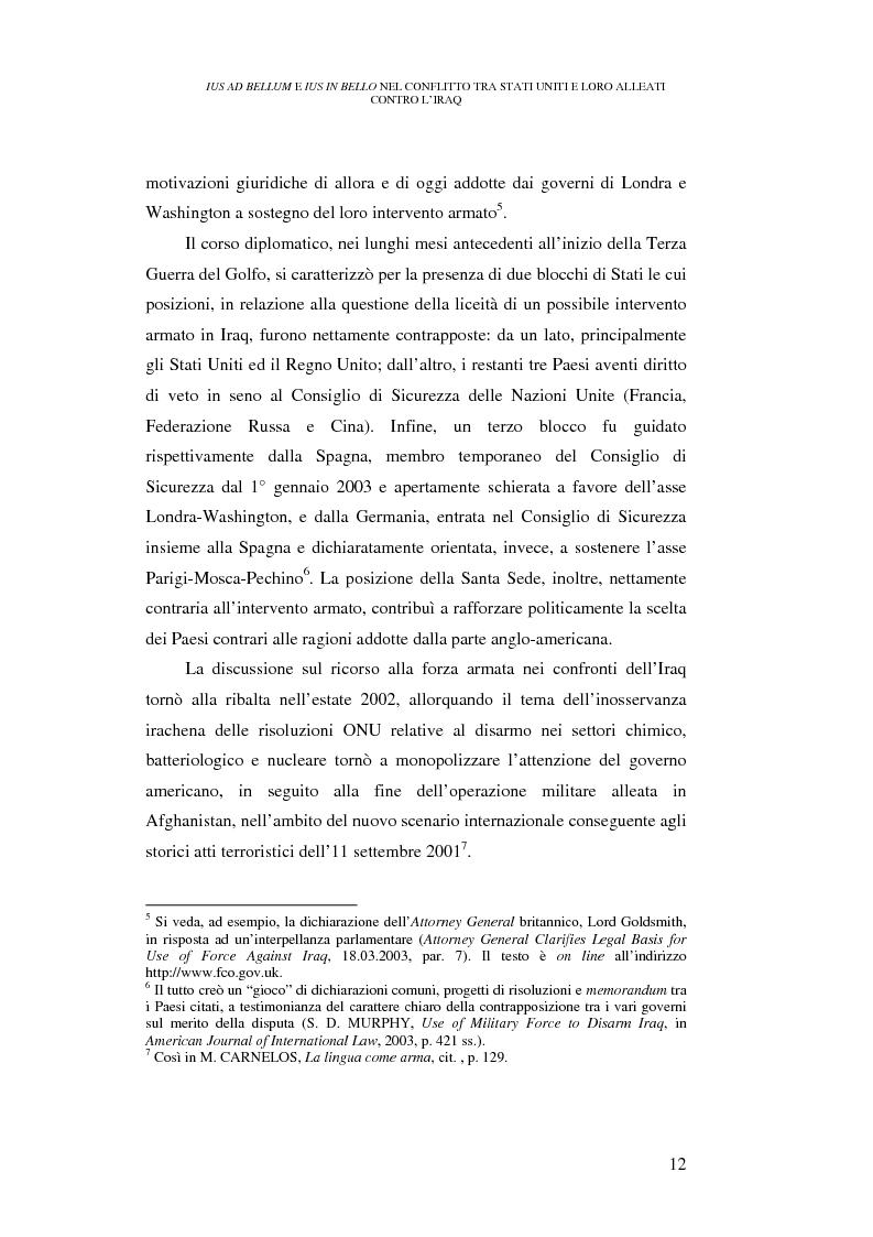 Anteprima della tesi: Ius ad bellum e ius in bello nel conflitto tra Stati Uniti e loro alleati contro l'Iraq, Pagina 12