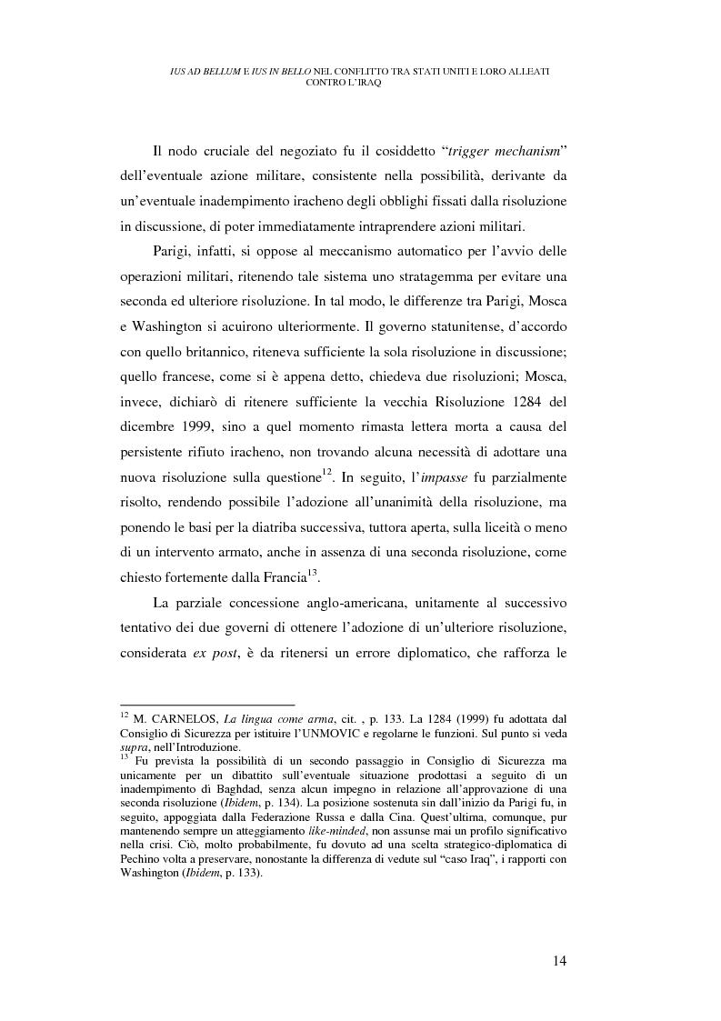 Anteprima della tesi: Ius ad bellum e ius in bello nel conflitto tra Stati Uniti e loro alleati contro l'Iraq, Pagina 14