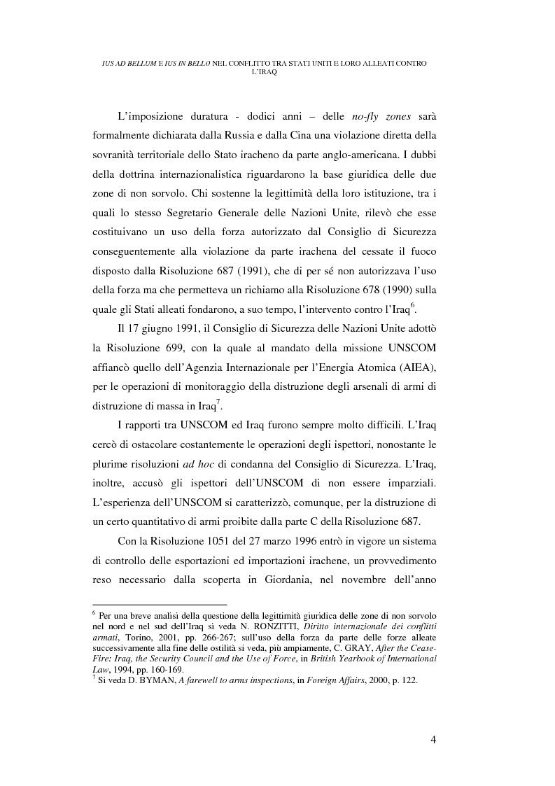 Anteprima della tesi: Ius ad bellum e ius in bello nel conflitto tra Stati Uniti e loro alleati contro l'Iraq, Pagina 4