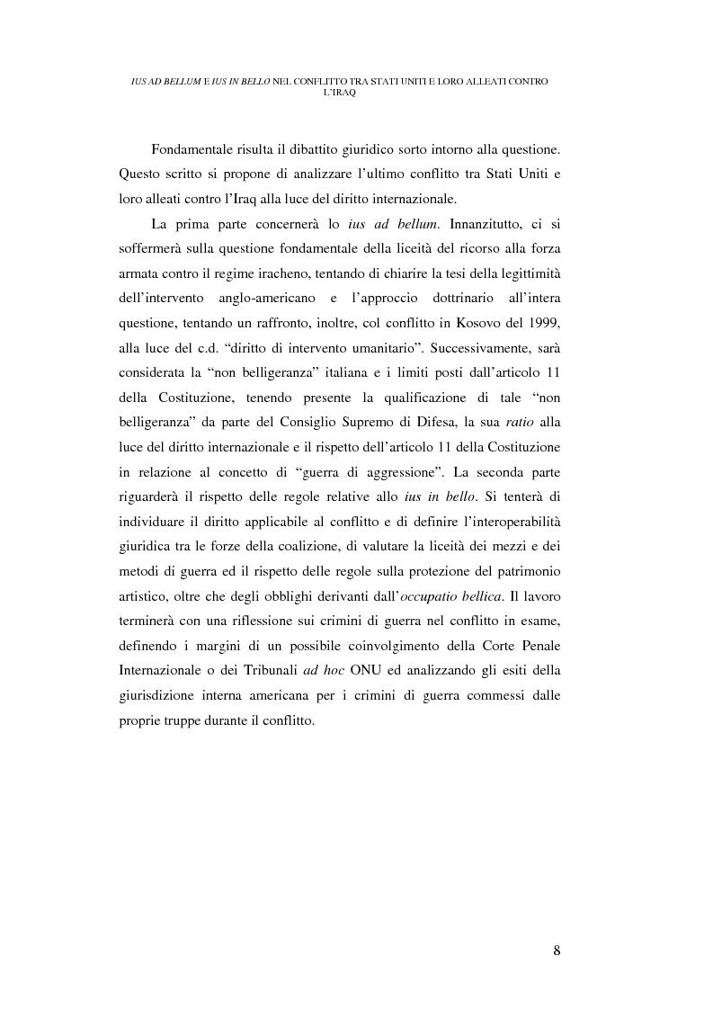 Anteprima della tesi: Ius ad bellum e ius in bello nel conflitto tra Stati Uniti e loro alleati contro l'Iraq, Pagina 8
