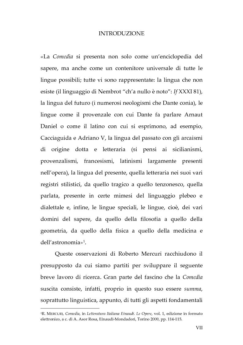 Anteprima della tesi: La lingua dei diavoli nell'Inferno dantesco, Pagina 1