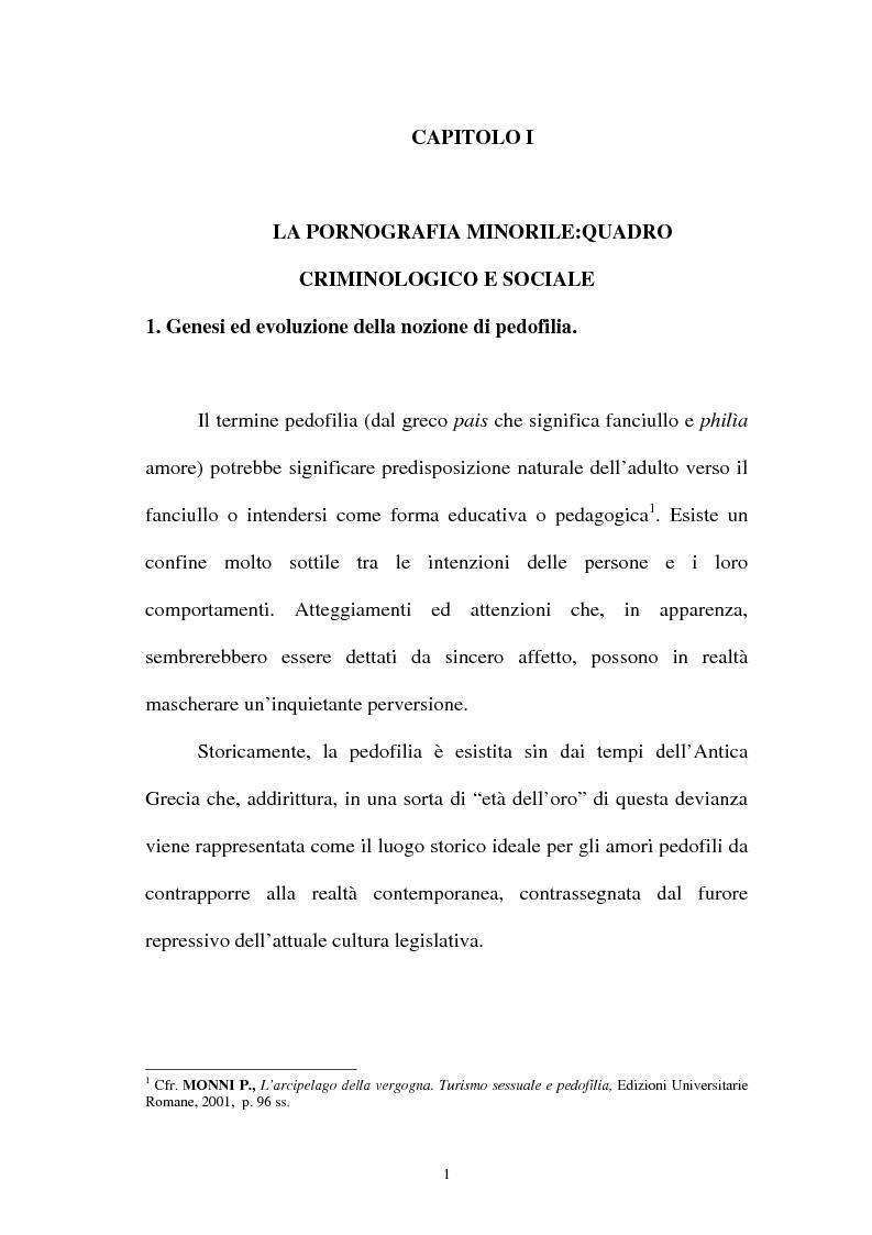 Anteprima della tesi: La pornografia minorile su Internet e le tecniche per contrastarla, Pagina 1