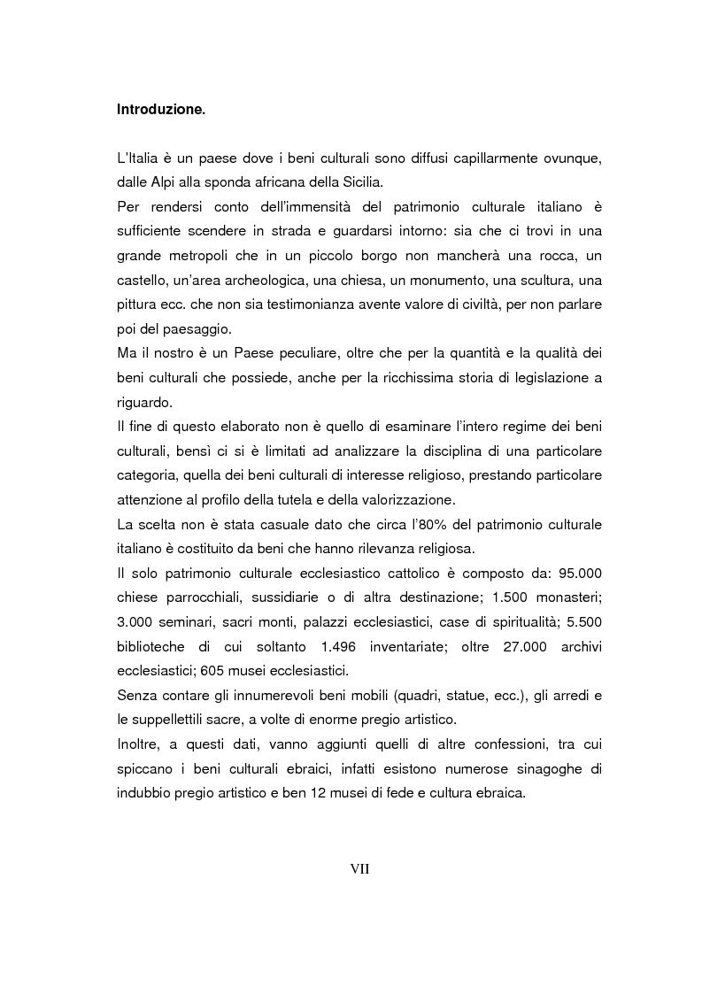 Anteprima della tesi: Beni culturali di interesse religioso, Pagina 1