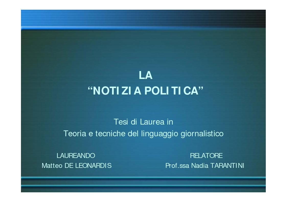 Anteprima della tesi: La ''notizia politica'', Pagina 1