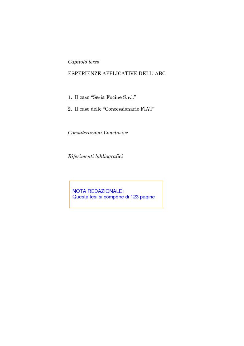 Indice della tesi: L'evoluzione dei sistemi di programmazione e controllo: l'Activity Based Costing, Pagina 3